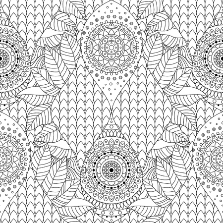 Tribal vintage ethnic seamless pattern with mandalas. Black and white oriental tiled background, boho style. Vector illustration.
