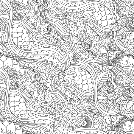 Tribal vintage floral ethnic seamless pattern with mandala and waves. Black and white oriental asian Indian ornament, boho design. Vector background. Ilustração