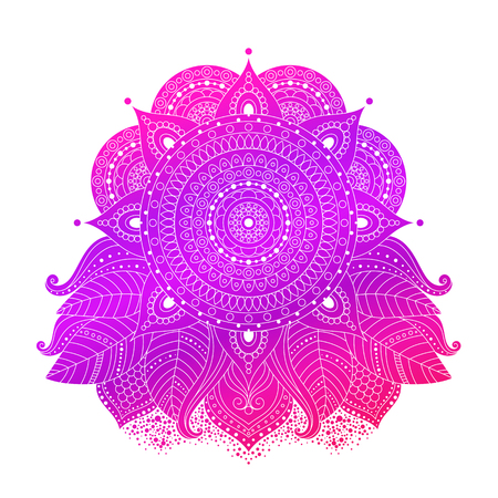 Ornamental floral ethnic design element isolated, vector art, Indian, asian decor. Hand drawn boho style, gypsy illustration in pink, violet colors for tattoo, card, invitation. Ilustração