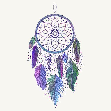 Acchiappasogni disegnato a mano con piume colorate. Arte etnica con design boho indiano nativo americano, simbolo misterioso, poster o carta zingara tribale. Illustrazione vettoriale di acchiappasogni.