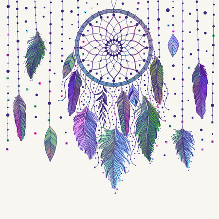 Colorful hand drawn dreamcatcher with floral details and feathers, vector illustration, can be used for boho art design invitation, postcard. Ilustração