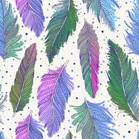 Colorful multicolored feathers seamless pattern, hand drawn art, boho style, vector background.