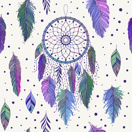 Colorful hand drawn dreamcatchers and feathers, and leaves, seamless pattern in boho ethnic style, vector background, can be used for fabric, wallpaper