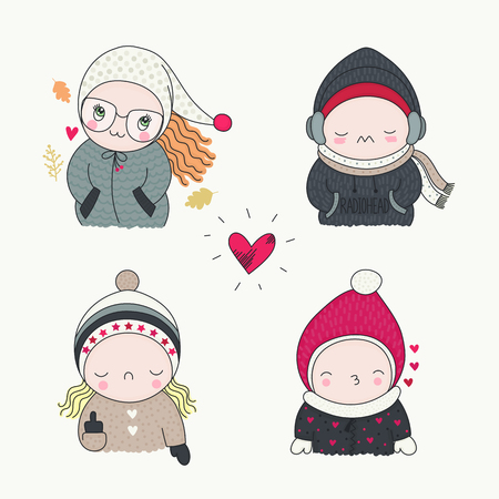 A cute children, set of hand drawn characters with different emotions, cartoon art, vector illustration. Boys and girls in funny beanies, mittens, jackets and coats, autumn leaves.