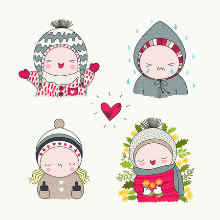 A cute children, set of hand drawn characters with different emotions, cartoon art, vector illustration. Boys and girls in funny beanies, smiling and crying, spring flowers and rain.
