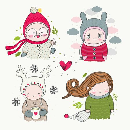 Set of hand drawn cute characters children with different emotions - happy, sad, cartoon art, vector art. Boys and girls in funny beanies with mug of hot tea, clouds, green leaves, and snowflakes. Ilustração
