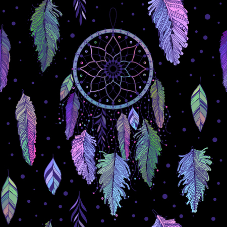 Dreamcatcher with colorful feathers seamless pattern. Ethnic tribal gypsy art with native American Indian boho design, mystery symbol. Vector background. Ilustração