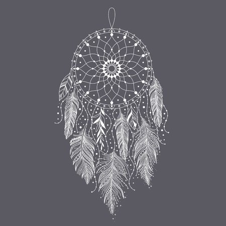 Hand drawn dreamcatcher with feathers. Ethnic art with native American Indian boho design, mystery symbol, tribal gypsy poster or card. Vector illustration of dream catcher.