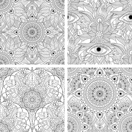 Set of tribal vintage floral ethnic seamless patterns with mandala. Black and white oriental asian Indian ornament, boho design. Vector background.