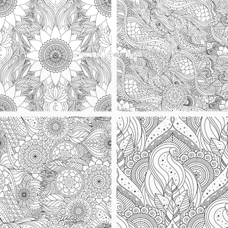 Set of tribal vintage floral ethnic seamless patterns with mandalas. Black and white oriental Asian Indian boho design. Vector background., countour outline art for coloring book, fabric, textile. Ilustração