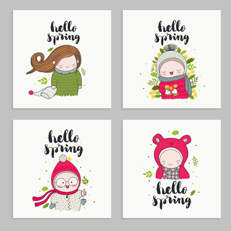 Set of invitations cards, posters, with cartoon characters, children in cute beanies and hand drawn lettering - hello spring. Leaves and flowers. Vector illustrations. Ilustração