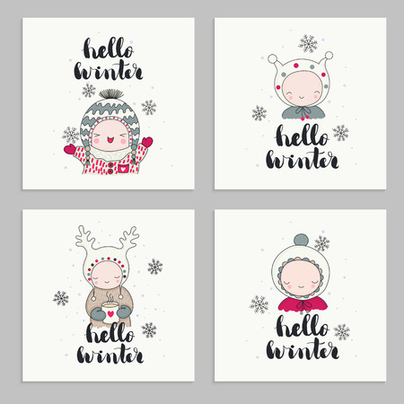 Set of invitations cards, posters, with cartoon characters, children in cute beanies and hand drawn lettering - hello winter. Snoflakes and mug of tea. Vector illustrations.