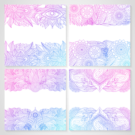 Set of cards with ethnic floral lace pattern with mandalas and mystery eye. Boho design. Pink and blue oriental Asian Indian ornaments borders on white background, outline, contour. Vector.
