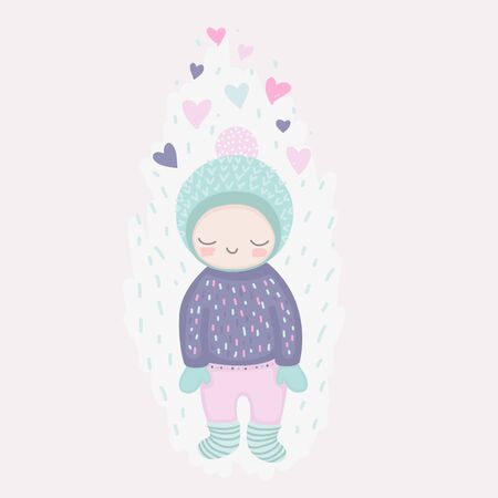 A smiling girl in love, cute character in beanie, sweater and mittens, cartoon romantic card with hearts in doodle style, vector illustration. 向量圖像