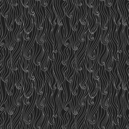 Nahtloses wellenförmiges lockiges Muster, abstrakter Schwarzweiss-Vektorhintergrund.