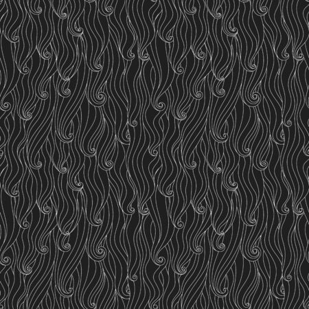 Seamless wavy curly pattern, black and white abstract vector background.