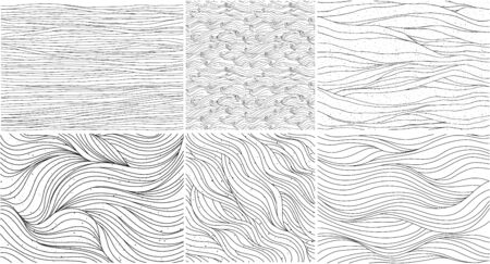 Wavy curly patterns set, black and white abstract vector backgrounds.