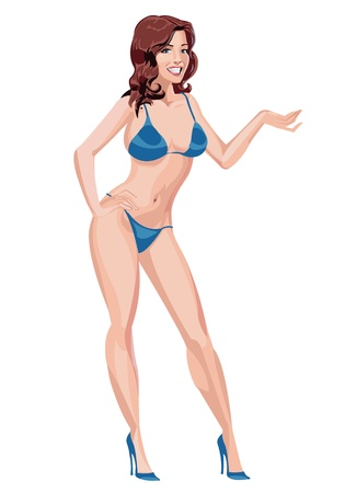 swimsuit: Sexy brunette girl in Blue bikini