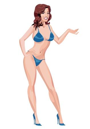 maillot de bain: Sexy girl brune en bikini bleu