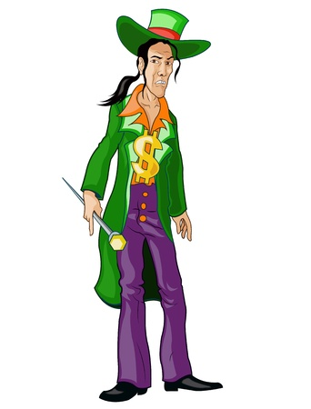 Hispanic Pimp in Glamorous Green Cloth Illustration
