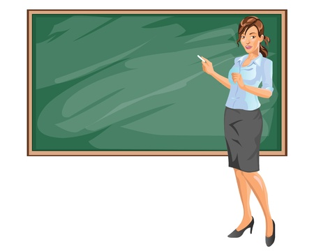 cartoon mascot: Female Teacher Explaining Subject in Class room