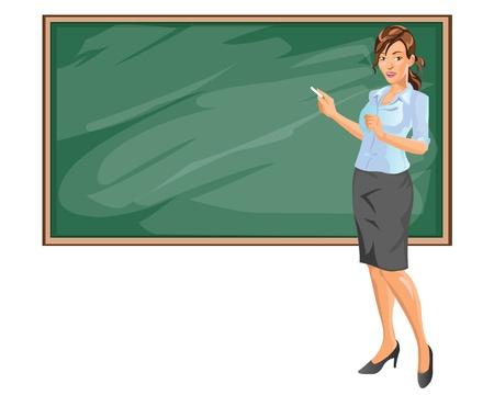 femme professeur: Female Teacher Expliquer Sujet dans la salle de classe Illustration