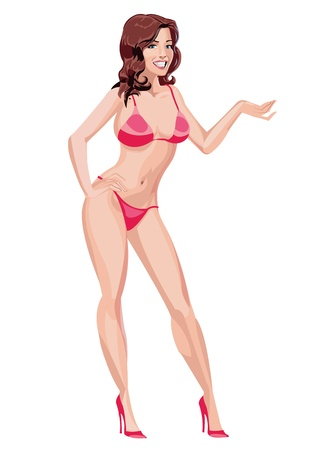 sexy bikini girl: Sexy Girl in Red Bikini Illustration