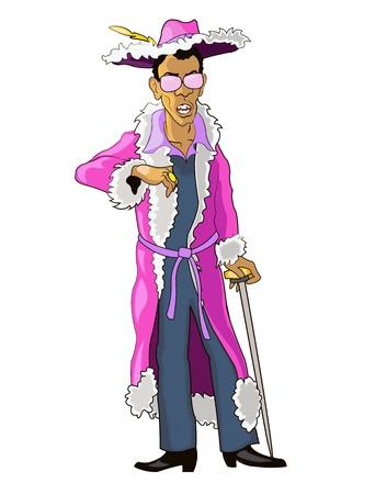 porno: Pimp Nero in Glamorous Suit Pink e bastone in mano