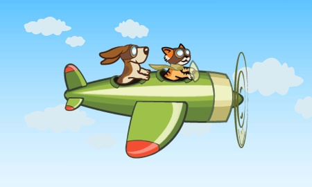 Cat and Dog Pilots Flying Plane Vector