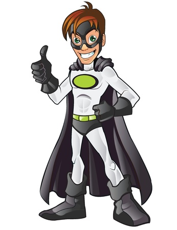 White Superhero Showing Thumb Up Vector