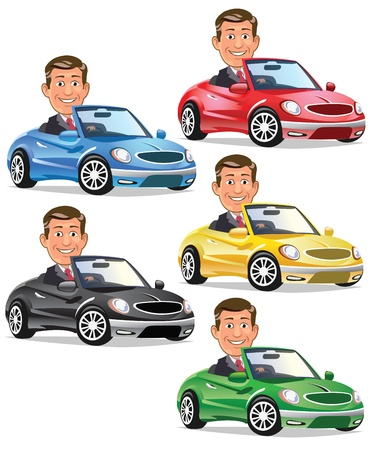 convertible car: Happy Rich Man Driving Convertible Illustration
