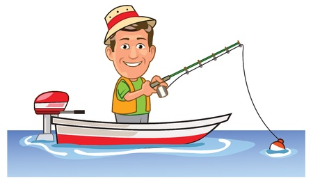 Funny Man Spending Holiday Fishing on Boat Illustration