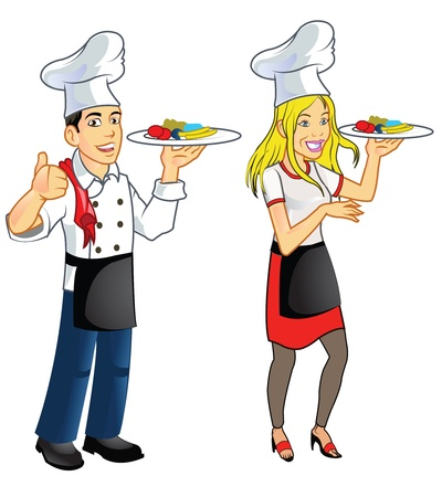 adolescent: Happy College Boy and Girl Playing as Chef
