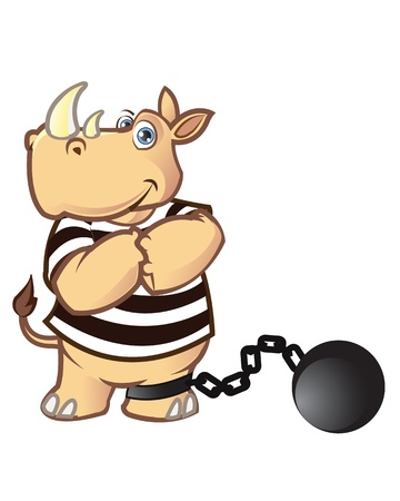 ball and chain: Prisoner Rhino Illustration