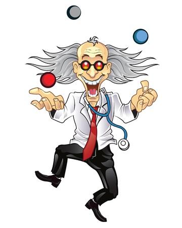 profesor: Mad Doctor divertido Vectores