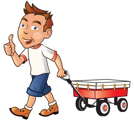 Cute Boy Having Fun Outdoor with His Wagon Vector