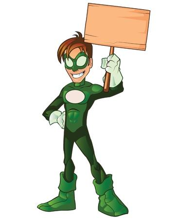 Green Super Boy Hero Çizim