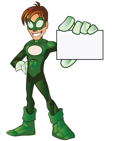 Green Super Boy Hero Illustration