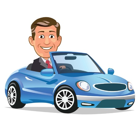 Man Drives Convertible Stock Vector - 15059819