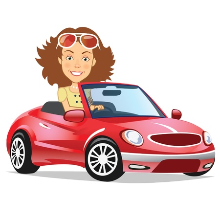 Woman Drives Convertible Stock Vector - 15059821