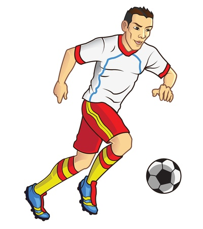 dribbling: Soccer Player Dribbles the Balls Illustration