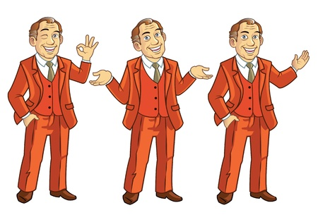 Happy Senior Businesman Showing Body Languages Vector