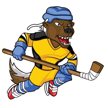 Intimidating Honey Badger Hockey Mascot Vector