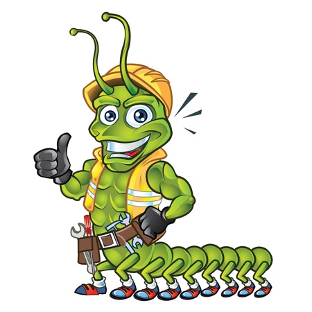 High detail centipede construction guy mascot