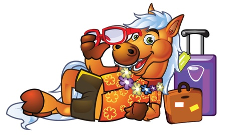 High Detail Pony Tourist Mascot for your Website Brand or Identity