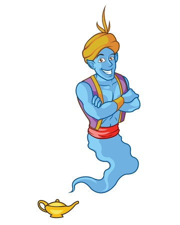 aladdin: Funny and friendly Handsome Genie Illustration