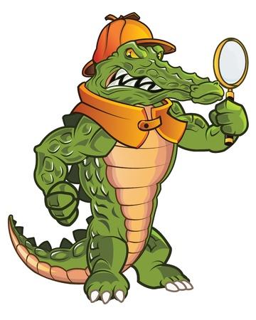 Tough Investigator Gator Ready to Work Çizim