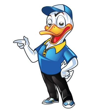 Cute Employer Duck Cartoon Mascot