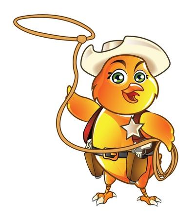 pistola: Vaquero lindo polluelo Vectores
