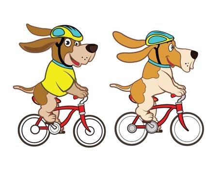 riding bike: Cane guida del ciclista Vettoriali